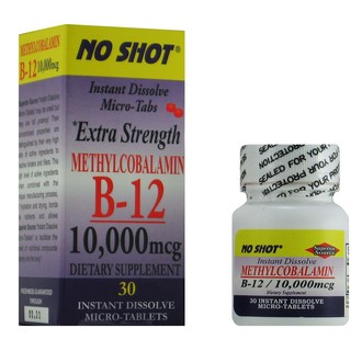 NO SHOT B-12 Methylcobalamin'Instant Dissolve Micro-Tabs' go to work fast.