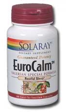 EuroCalm Formula for Restful Sleep containing valerian root extract plus extracts of passion flower - chamomile and hawthorn..