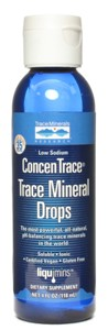 Soluble, all-natural complex of over 72 ionic trace minerals and elements extracted from the Great Salt Lake in Utah. The ionic minerals in ConcenTrace also have the power to maintain and even improve the pH balance in your body. It is important to keep your bodys acid base balance because an acidic body is a breeding ground for disease. ConcenTrace is so essential to human health that youll find it in every one of our quality products. vegetarian, gluten free, Kosher..