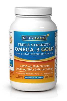 Pharmaceutical grade fish oil concentrate providing the highest potencies of EPA and DHA currently available without a prescription. NutriGold Triple Strength Omega-3 is