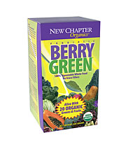 New Chapter's Berry Green powder is packed with vitamins and minerals for an increased amount of energy- also contains beneficial probiotics for intestinal health..