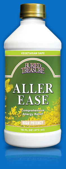 Aller-Ease fast acting liquid by Buried Treasure is formulated to provide relief from allergy symptoms, runny nose, watery eyes and nasal congestion..