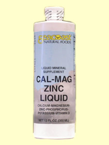 Seacoast Natural Foods Cal-Mag Zinc Liquid (12oz) contains Calcium, Magnesium and Zinc. It helps improve bone, teeth and the cardiovascula system..