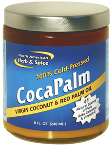 Red palm oil, plus cold-pressed virgin coconut oil, praised as the #1 natural food of Beta Carotene and Vitamin E.