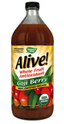 Alive! Goji Berry Juice from Nature's Way is Kosher and 100% Certified Organic, providing whole fruit antioxidants, amino acids, and essential vitamins and minerals..