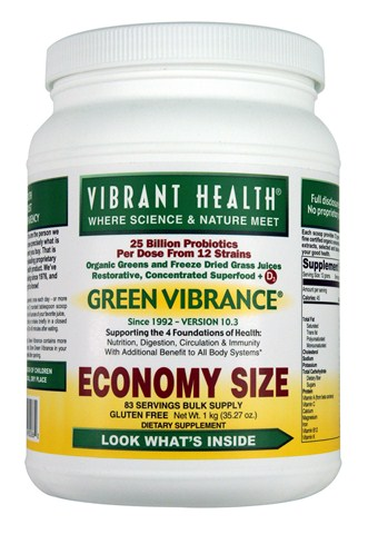 Organic Greens & Freeze Dried Grass Juices with 25 Billion Probiotics per Serving from 12 strains.