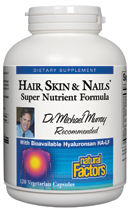 Hair, Skin & Nails from Natural Factors provides the body with nutrients vital in maintaining strong and healthy hair and nails and radiantly smooth skin..
