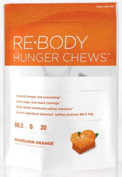 Direct from the makers of SafSlim, the breakthrough Belly Fat solution, Re-Body Hunger Chews contain clinically researched Satiereal Saffron Extract, shown to curb hunger and cravings and inhibit emotional eating impulses..