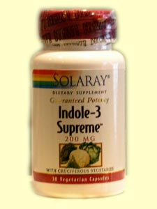 Solaray Indole-3 Supreme has been shown in clinical studies to decrease incidence of breast, colon, and prostate cancer, regulates metabolism of estrogen, and appears to be anti-estrogenic..
