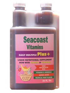 Seacoast Vitamins Daily Multi Plus Liquid Multiple Vitamin comprises potent concentrations of Sea Vegetables, Ginseng and Ginkgo Biloba in a base of 100% Pure Aloe Vera Juice yielding high high antioxidant activity and trace minerals..
