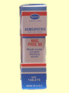 Hylands Mag. Phos. 6X for relief of shooting muscle cramps, pain, and spasms..
