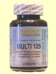 Seacoast Multi 125 Multiple Vitamin, Time Release with 73 ingredients.