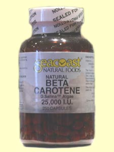 Beta Carotene, Natural 25,000 IU contains 15 mg of D. salina algae providing 25,000 iu of natural pro-vitamin A activity..