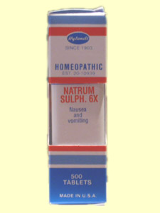 Hyland's Natrum Sulphuricum homeopathic tablets for nause and vomiting..