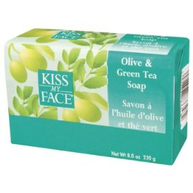 Pure Olive & Green Tea Soap from Kiss My Face containing olive oil and green tea for healthy skin..