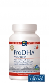 Nordic Naturals' ProDHA features high levels of omega-3 fatty acids, which are vital to the proper functioning of the brain and visual systems, as well as essential to improving focus and memory..
