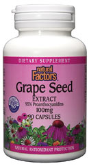 Natural Factors Grape Seed Extract is full of the health promoting benefits of its key compounds, proanthocyanidins. Grape Seed extract offers potent antioxidant protection against damaging free radicals. Free radicals attack the body's cells and inhibit their healthy development and reproduction..