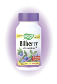 Nature's Way Bilberry, Standardized is high in the bioflavonoid complex anthocyanosides. These active constituents support visual adaptation to light and also help maintain normal nighttime vision..