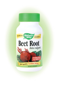 Nature's Way Beet Root Capsules. The dark red beet root (Beta vulgaris) is generally regarded as a nutrient-rich food. Natural sugars, starches, and gum, make it an energy source, as well as a source of soluble fiber..