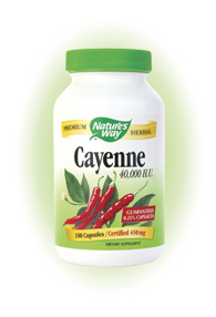 Nature's Way Cayenne Pepper 40,000 HU Capsules. Cayenne Pepper fruit (Capsicum annuum) is a blood-red warming herb that has an invigorating effect on several body systems..