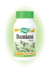 Nature's Way Damiana Leaf Capsules. Damiana (Turnera aphrodisiaca), an aromatic perennial shrub native to Mexico and the Southwestern United States, has been used traditionally by herbalists as a tea..