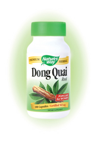 Nature's Way Dong Quai Root Capsules. Dong Quai (Angelica sinensis) root contains a guaranteed natural potency of 0.25% ligustilide..