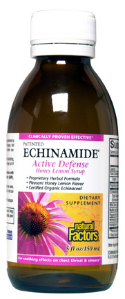 Natural Factors Active Defense Syrup,  relieves minor throat scratchiness and coughing. It also boosts the immune system..