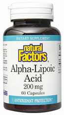Natural Factors Alpha-Lipoic Acid is a valuable antioxidant that helps protect the body against damaging free-radicals. Unlike other antioxidants, Alpha-Lipoic Acid is both water and fat soluble, enabling it to quench free-radicals both inside the cells and outside in intracellular spaces. Alpha-Lipoic Acid also extends the life of other antioxidants, recharging them so that they can continue to protect the body..