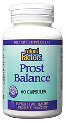 Natural Factors Prost Balance contains standardized phytonutrients for men who want to optimize their prostate health and protect against harmful chemicals..