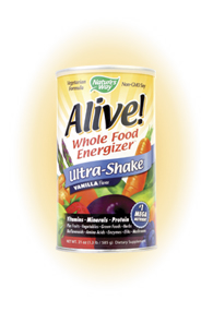 Alive! Whole Food Energizer Ultra-Shake Vanilla Flavor Vitamins - Minerals - Protein. Plus Fruits - Vegetables - Green Foods - Herbs Bioflavonoids - Amino Acids - Enzymes - EFA's - Mushrooms.