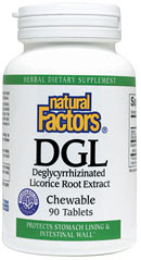 Deglycyrrhizinated Licorice (DGL) is a safe and effective licorice extract.  It is specially processed to have glycyrrhizin removed to avoid potential side effects such as elevated blood pressure.  DGL improves the integrity of the natural Mucus lining of the stomach and intestinal wall.  It stimulates the protective factors which guard against weakness in these linings..