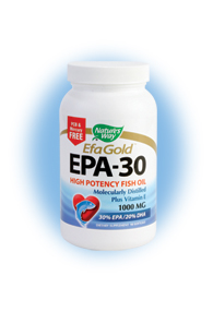 Nature's Way EFA Gold EPA contains high levels of fatty acids that are important in the body's ability to fight off disease, while also promoting healthy vision and bone health, and decreasing the risk of heart attack and cancer..