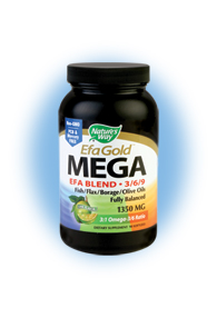 Nature's Way EFA Gold MEGA EFA Blend provides an essential balance of omega-3/6/9 fatty acids, which can improve cardiovascular health, as well as build healthy bones, and contribute to healthy brain function in children..