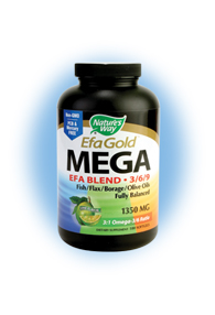 Nature's Way EFA Gold MEGA EFA Blend provides a healthy balance of omega-3, omega-6, and omega-9 fatty acids, which aid in healthy brain development, build strong bones, and increase cardiovascular health, while reducing the risk of cancer and stroke..