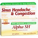 Boericke & Tafel Alpha SH Natural Homeopathic formula temporarily relieves minor pain of sinus headache. Shrinks swollen nasal membranes, helps decongest sinus openings and passages by promoting sinus drainage..