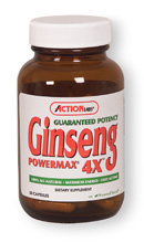 Action Labs Guaranteed Potency Ginseng Powermax 4X, Boost your energy to the max with Action LAbs Ginseng Power Max 4X formula. A unigue combination of popular Ginsengs and energizing herbs synergistically blending for optimum performace. This formula offers one of the highest concentrations of Guaranteed Potency Ginseng available today..