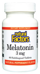 Natural Factors Melatonin supplement can help to provide a more restful and natural sleep without any drowsy side-effects that sometimes result from taking chemically produced pharmaceutical sleep aids..