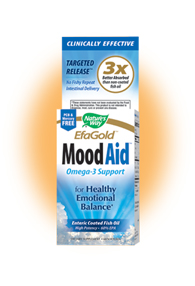 Nature's Way EFA Gold MoodAid provides a high level of EPA and other essential fatty acids, which improve overall mood, enhance nervous system and brain development in children, and decrease risk of heart attack and stroke..