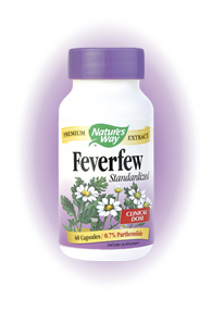 Feverfew Standardized is derived from the Feverfew plant, which is grown commonly all over North America. It has been found to be effective in helping to reduce fevers. It also has been used to help treat some digestive problems. Feverfew is most commonly used in the reduction of headaches..