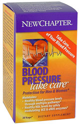 BlNew Chapter Blood Pressure Take Care is a special blend of herbs that helps promote healthy blood pressure levels as well as healthy cardiovascular function. Blood Pressure Take Care balances blood pressure levels through multiple pathways..