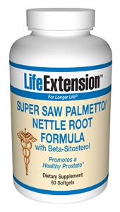 Life Extension Super Saw almetto/Nettle Root could be your natural approach to prostate health. Saw Palmetto and Nettle Root have been found to be very effective in helping to reduce the inflammation associated with an enlarged prostate. It is most commonly used to treat benign prostatic hyperplasia..