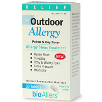 BioAllers' Outdoor Allergy is a natural, fast acting product that relieves seasonal allergy symptoms and helps fortify the body against future allergic attacks..