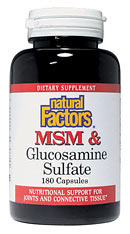 Natural Factors' MSM & Glucosamine natural combination of MSM and Glucosamine Sulfate works to maintain the structural integrity of joints and connective tissue.  This product is especially beneficial for active and elderly people..