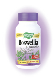 Nature's Way Boswellia extract is standardized to 65% boswellic acids, with the researched clinical dose used to support joint health and mobility..