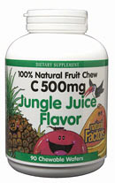 Natural Factors C 500 Fruit Chews, Jungle Juice is an all-natural way to get your daily dose of Vitamin C. It is delicious and has no artificial colors or flavors..