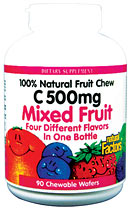 Natural Factors C 500 Fruit Chews, Mixed Fruit helps protect your body by giving you the proper amount of Vitamin C every day. It is 100% natural and safe to use..