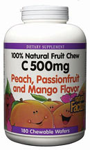 Natural Factors C 500 Fruit Chews come in three delicious tropical flavors. Each wafer is 100% natural with no soy, wheat, or yeast..