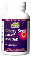 Natural Factors Celery Seed Extract helps improve circulation, reduce hypertension, and acts as an effective diuretic..