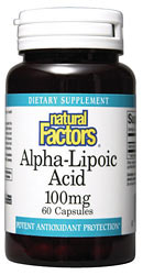 Natural Factors Alpha-Lipoic Acid is a powerful antioxidant that may improve diabetic neuropathies.  Alpha-Lipoic Acid extends the life of other antioxidants, enhances performance of other vitamins and antioxidants.