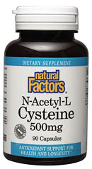 Natural Factors N-Acetyl-L-Cysteine (NAC) 500mg capsules contain a highly stable form of cysteine, an important and diverse amino acid..